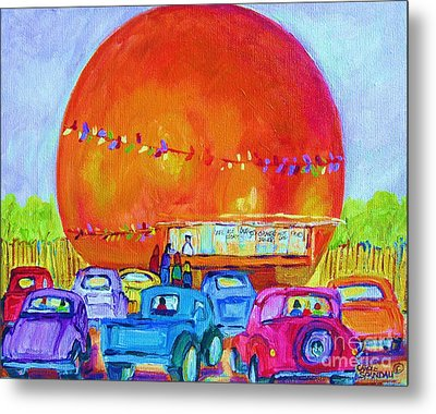 Metal Print featuring the painting Antique Cars At The Julep by Carole Spandau