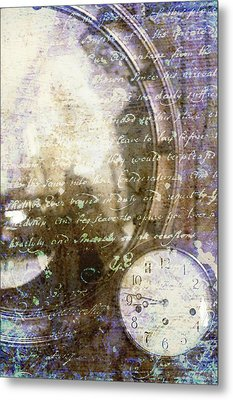 Antique Mirror And Clock Metal Print by Suzanne Powers