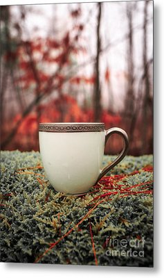 Antique Teacup In The Woods Metal Print by Edward Fielding