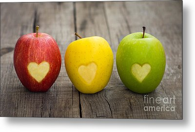 Apples With Engraved Hearts Metal Print