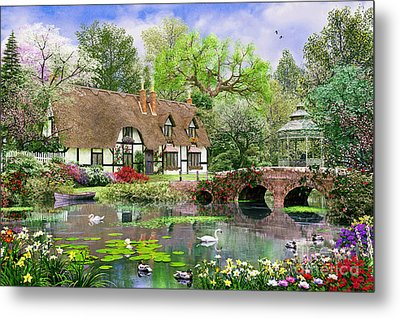 April Cottage Metal Print