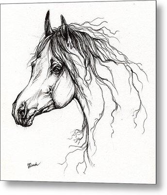 Arabian Horse Drawing 37 Metal Print by Angel  Tarantella