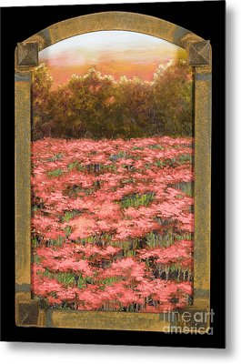 Arched Morning Orange Poppy Field W Frame Metal Print by Vic  Mastis