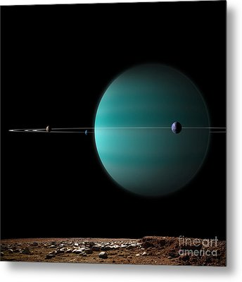 Artists Depiction Of A Ringed Gas Giant Metal Print by Marc Ward