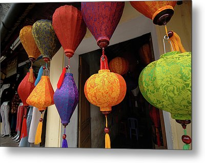 Asia, Vietnam Colorful Fabric Lanterns Metal Print by Kevin Oke