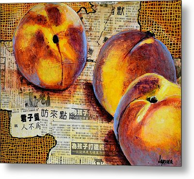 Asian Peaches Metal Print by JAXINE Cummins