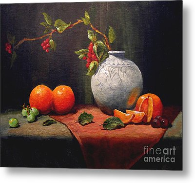 Metal Print featuring the painting Asian Vase by Carol Hart