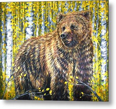 Aspen Bear Metal Print by Teshia Art