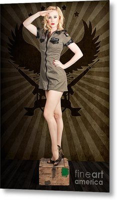 Attractive Blond Pin-up Army Girl. Military Salute Metal Print by Jorgo Photography - Wall Art Gallery