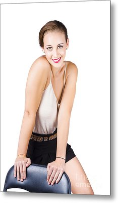 Attractive Young Woman Posing On Chair Metal Print