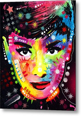 Metal Print featuring the painting Audrey Hepburn by Dean Russo