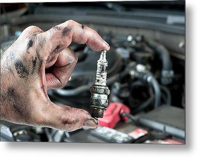 Auto Mechanic And Sparkplug Metal Print by Joe Belanger
