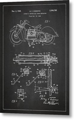 Automatic Motorcycle Stand Retractor Patent Drawing From 1940 Metal Print