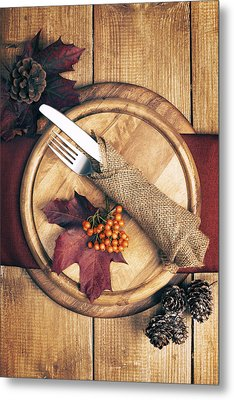 Autumn Table Setting Metal Print by Amanda Elwell