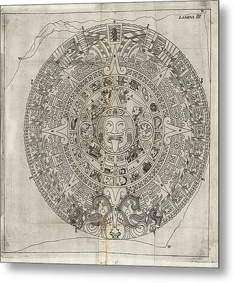 Aztec Calendar Stone Metal Print by Library Of Congress