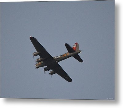 Metal Print featuring the photograph B-17 Flying Fortress Wwii Bomber Over Santa Rosa Sound At Twilight by Jeff at JSJ Photography