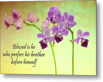 Bahai Purple Orchid Quote Metal Print by Rudy Umans