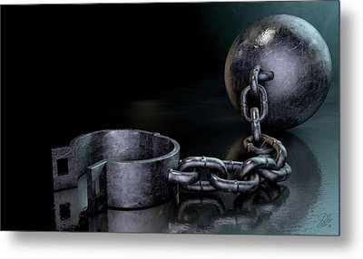 Ball And Chain Dark Metal Print
