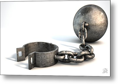 Ball And Chain Isolated Metal Print