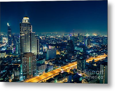 Bangkok City Skyline At Night Metal Print by Fototrav Print