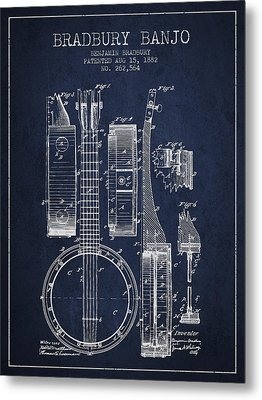 Banjo Patent Drawing From 1882 - Blue Metal Print