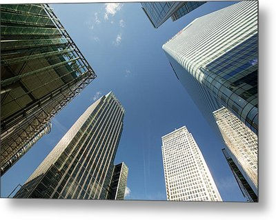 Banks In Canary Wharf Metal Print by Ashley Cooper