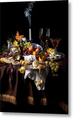 Banquet With Oysters And Fruit Metal Print by Levin Rodriguez
