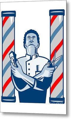 Barber With Pole Hair Clipper And Scissors Retro Metal Print by Aloysius Patrimonio