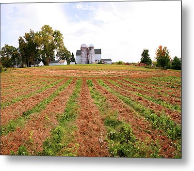 Barn And Silo In A Field, Route 34 Metal Print