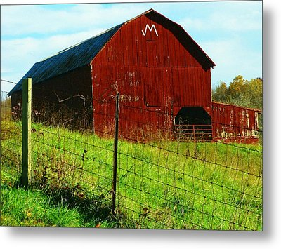 Barn With An M Metal Print by Joyce Kimble Smith