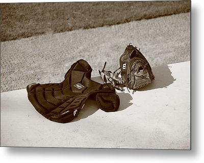 Baseball Glove And Chest Protector Metal Print by Frank Romeo