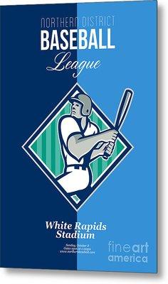 Baseball Hitter Batting Diamond Retro Metal Print by Aloysius Patrimonio