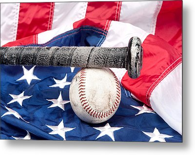 Baseball On American Flag Metal Print by Joe Belanger