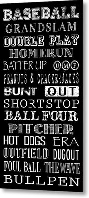 Baseball Subway Art Metal Print by Jaime Friedman
