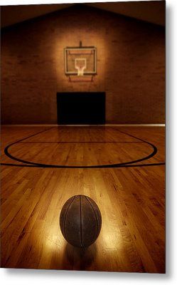 Basketball And Basketball Court Metal Print by Lane Erickson