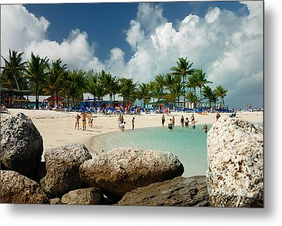 Beach At Coco Cay Metal Print