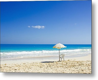 Metal Print featuring the photograph Beach Chair And Umbrella On Idyllic Tropical Sand by Mohamed Elkhamisy