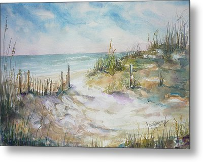 Beach Fence Metal Print by Dorothy Herron