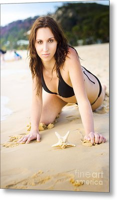 Beach Fun With A Gorgeous Brunette Metal Print
