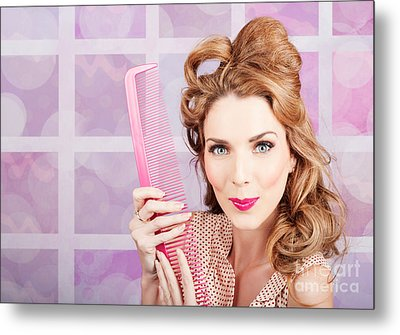 Beautiful Hairstyle Model With Beauty Hair Comb Metal Print