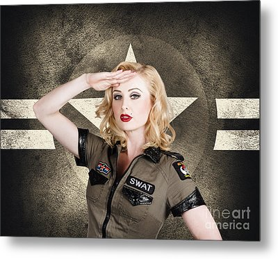 Beautiful Pinup Girl In Vintage And Retro Fashion Metal Print