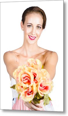 Beautiful Woman Holding Florist Flowers Metal Print by Jorgo Photography - Wall Art Gallery