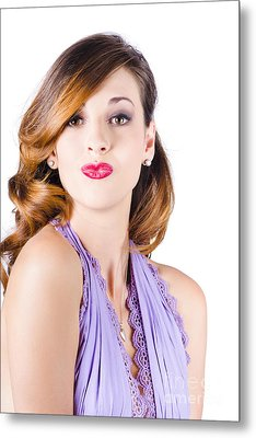 Beautiful Woman Puckering Lips For Kiss Metal Print by Jorgo Photography - Wall Art Gallery