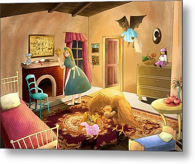 Bedtime With Polly Metal Print by Reynold Jay