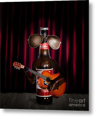 Beer Bottle Music Performer Playing Opening Act Metal Print by Jorgo Photography - Wall Art Gallery