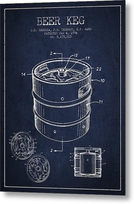 Beer Keg Patent Drawing - Green Metal Print