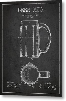 Beer Mug Patent From 1876 - Dark Metal Print