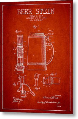 Beer Stein Patent From 1914 - Red Metal Print by Aged Pixel