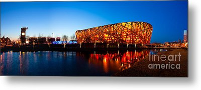 Beijing National Stadium By Night  The Bird's Nest Metal Print by Fototrav Print