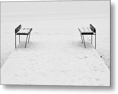 Benches On A Dock Metal Print